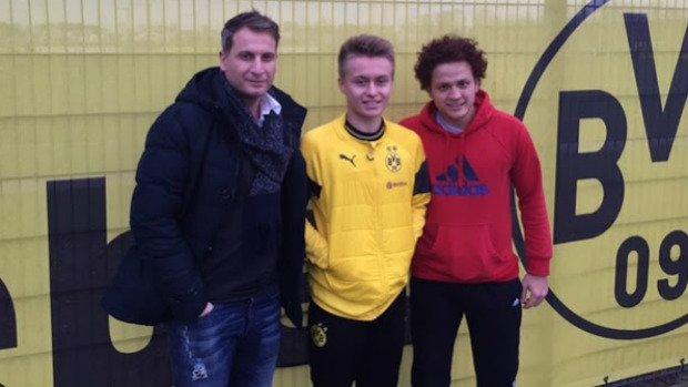 Jamie Gorgovski (middle) with new teammate Mustafa Amini (right) and his Australian representative Buddy Farah (left).