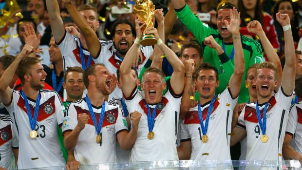 Germany celebrate their 2014 FIFA World Cup win over Argentina.