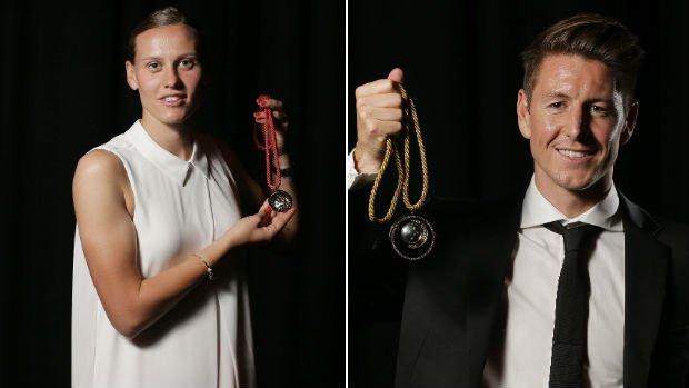Last season's Julie Dolan medal winner Emily van Egmond and Johnny Warren medal winner Nathan Burns.