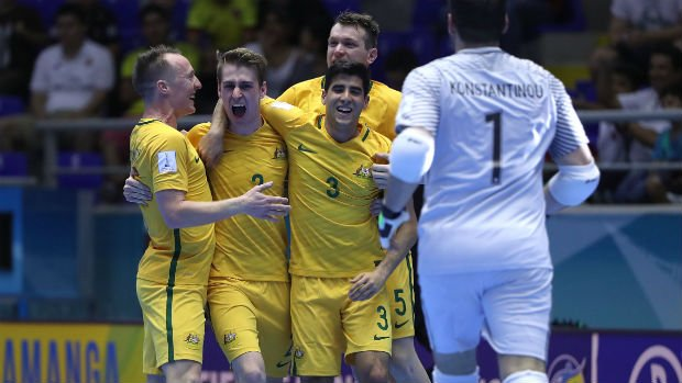 The Futsalroos celebrate scoring against Mozambique in their FIFA Futsal World Cup opener.