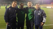 Foxtel A-League All Stars Alessandro Del Piero and Ali Abbas with Young Socceroos Hagi Gligor and Chris Naumoff.