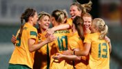 The Westfield Matildas celebrate a goal against China.