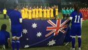 The Mini Matildas sing the national anthem ahead of kick-off against Vietnam.