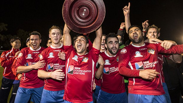 Bonnyrigg White Eagles celebrate clinching the NSW NPL title after their final day heroics.