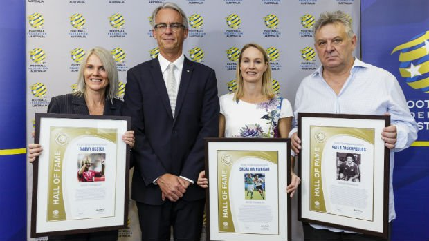 Referee Tammy Ogston, FFA CEO David Gallop, Matilda Sacha Wainwright and Socceroo Peter Raskopoulos.