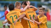 The Joeys celebrate a goal during a match at the AFF U-15 Championships.