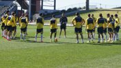 Foxtel A-League All Stars coach Josep Gombau passes on instructions to his side at training.