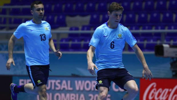 Wade Giovenali warming up ahead of Australia's Futsal World Cup opener.