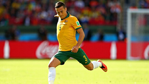 Jason Davidson in action for the Socceroos against the Netherlands at the World Cup.