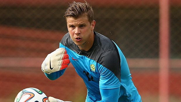 Socceroos goalkeeper Mitch Langerak in training at the World Cup.
