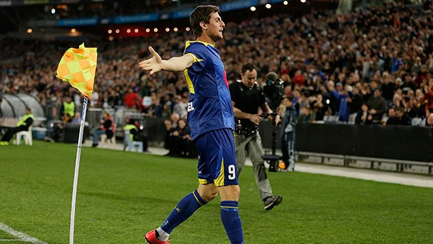 Tomi Juric celebrates putting the All Stars ahead against Juventus.