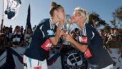 Stephanie Catley and Jessica Fishlock celebrate Melbourne Victory's Westfield W-League Championship.