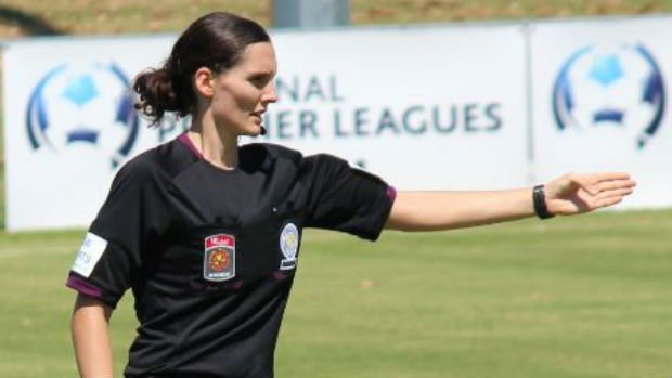 Referee Rachel Mitchenson takes charge of a match in Queensland's NPL.