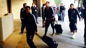 Juventus players arrive at their team hotel after receiving a heroes welcome at Sydney airport.
