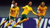 Nicholas Panetta celebrates scoring his second goal against Argentina to seal Australia's win