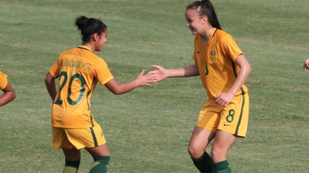 Mini Matildas youngster Amy Sayer (right) Image: Cath Riddel.