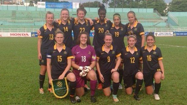 The Young Matildas starting XI which faced Laos.