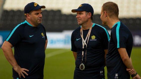 Olyroos coach Josep Gombau alongside Caltex Socceroos boss Ange Postecoglou and assistant Ante Milicic.