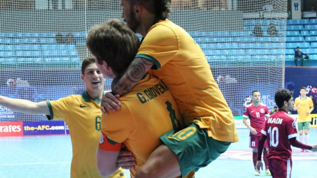 The Futsalroos celebrate a goal from captain Greg Giovenali against Qatar at the 2016 AFC Futsal Championship. Images courtesy of Mark Seeto