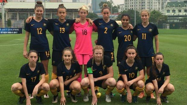 The Mini Matildas starting XI against Iraq in Hanoi.