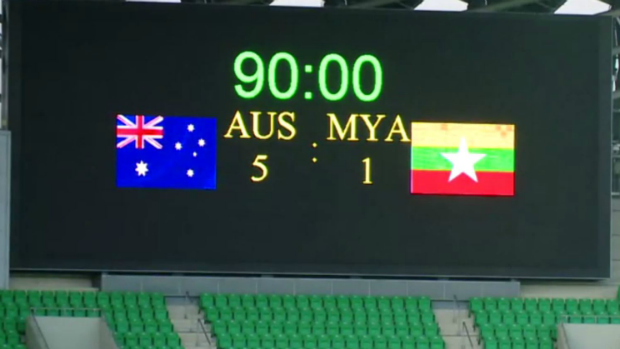 The Olyroos full-time score against Myanmar at the National Stadium in Kaohsiung.