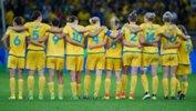 The Australian Women's Football Team ahead of their penalty shoot-out against Brazil.
