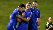 Former A-League player Chris Payne celebates with his Manly United teammates.