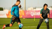 Olyroos goalkeeper Jack Duncan takes part in a training drill in Qatar.