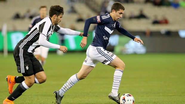 Melbourne Victory youngster Sebastian Pasquali on the ball against Juventus.