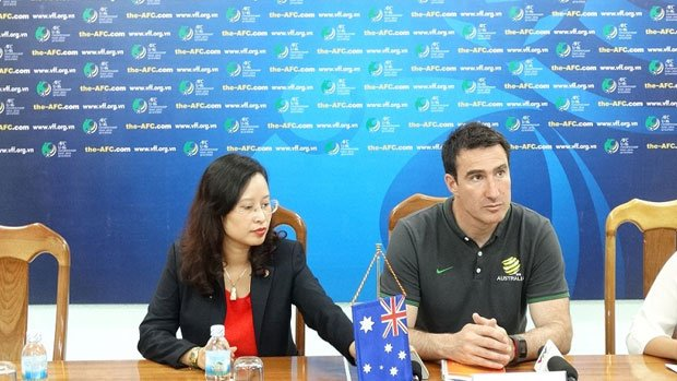 Joeys coach Tony Vidmar answers questions at the press conference.