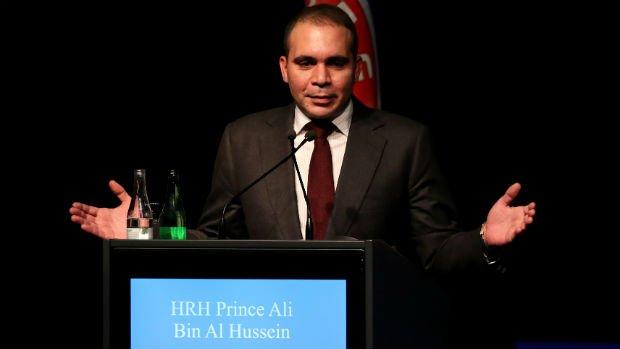 Prince Ali bin Al Hussein addresses the UEFA XI Extraordinary Congress on Thursday.