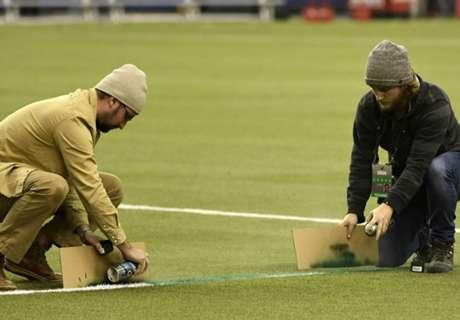 VIDEO: Field mishap delays MLS clash