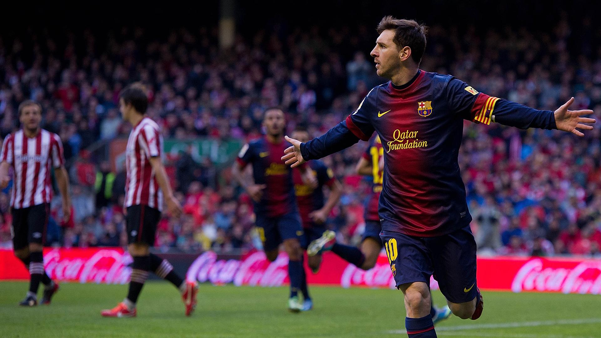 Messi celebrates against Athletic Bilbao