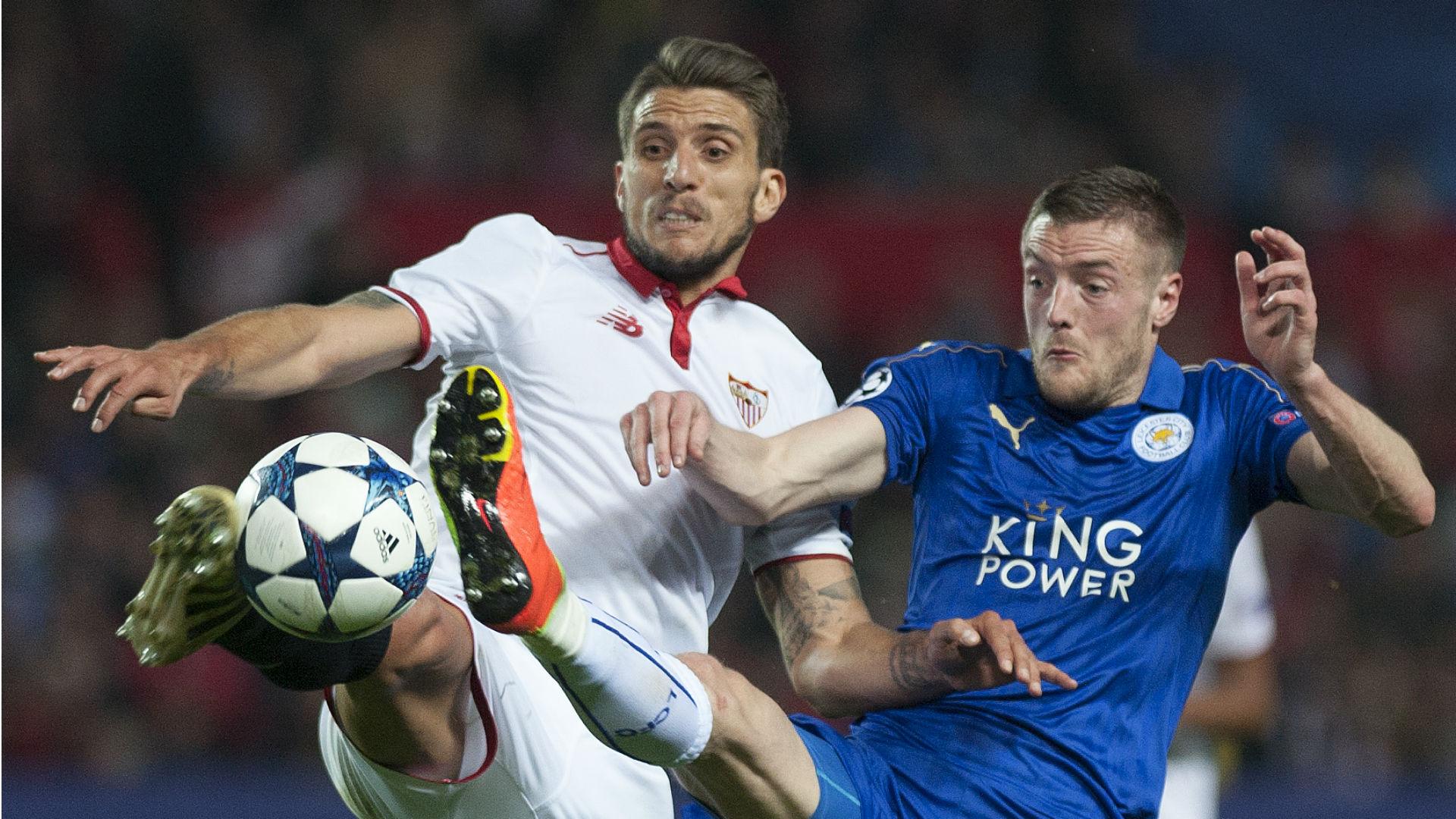 Daniel Carrico Jamie Vardy Sevilla Leicester City Champions League 022217