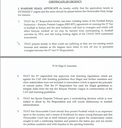 Sam Nyamweya's petition against KPL,FKF and SDT on league stalemate