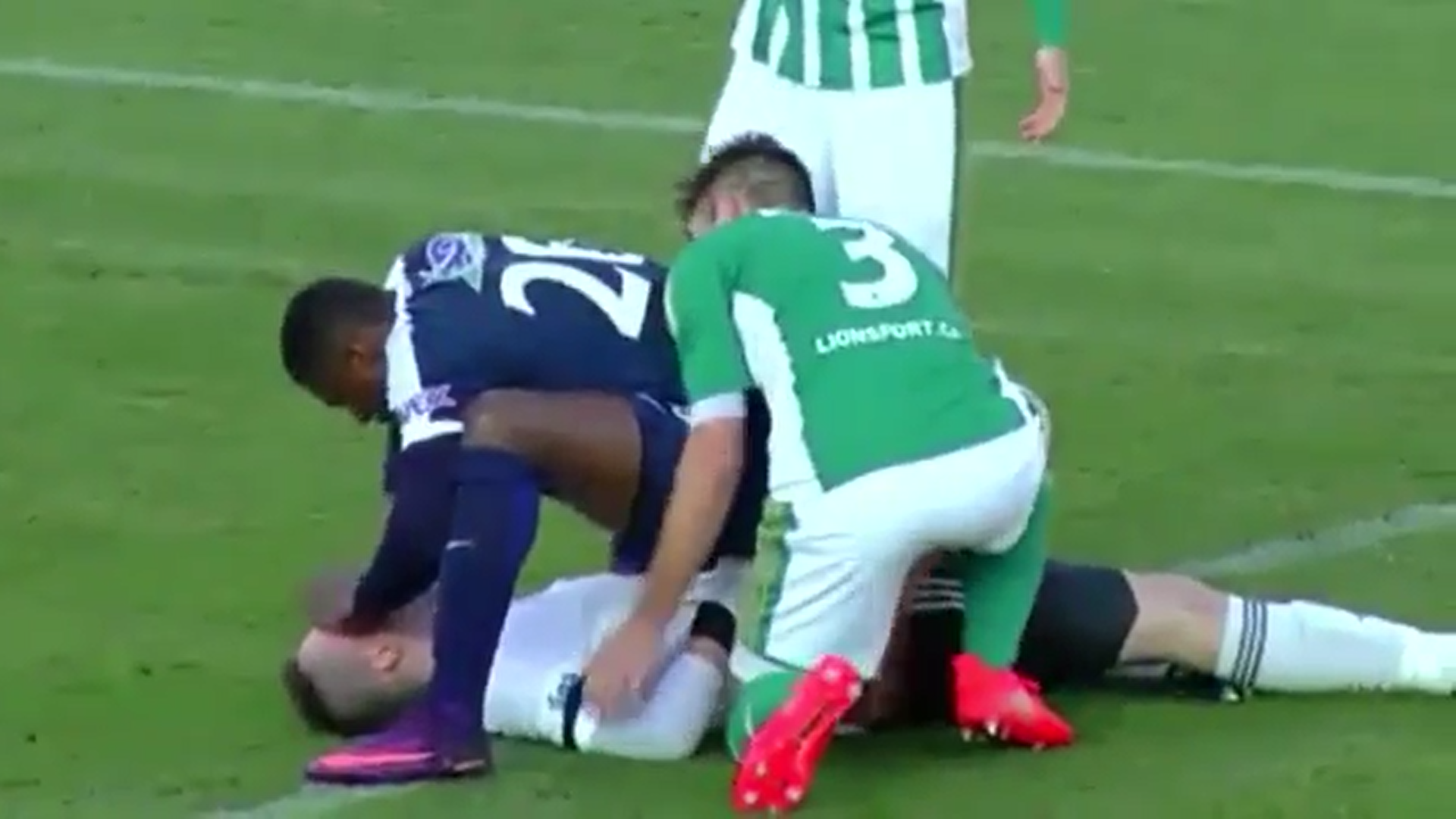 Francis Kone saves opposition goalkeeper Martin Berkovec's life after horrific collision
