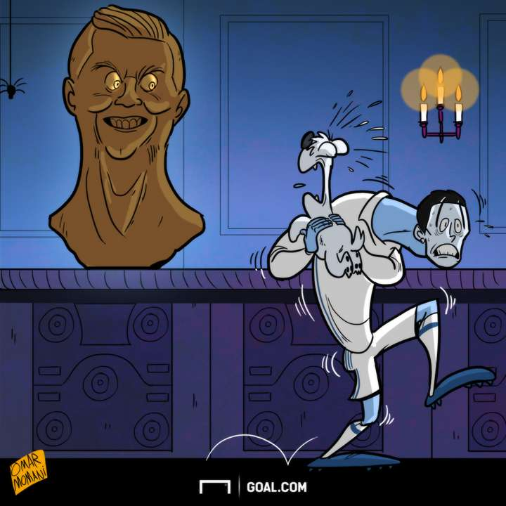 Cartoon Ronaldo's statue