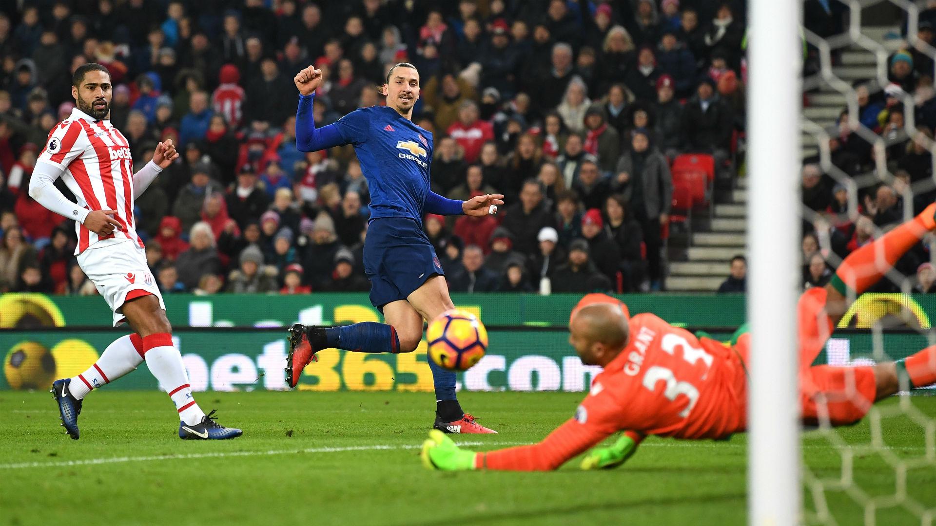 Zlatan Ibrahimovic Premier League Stoke v Man Utd 210117