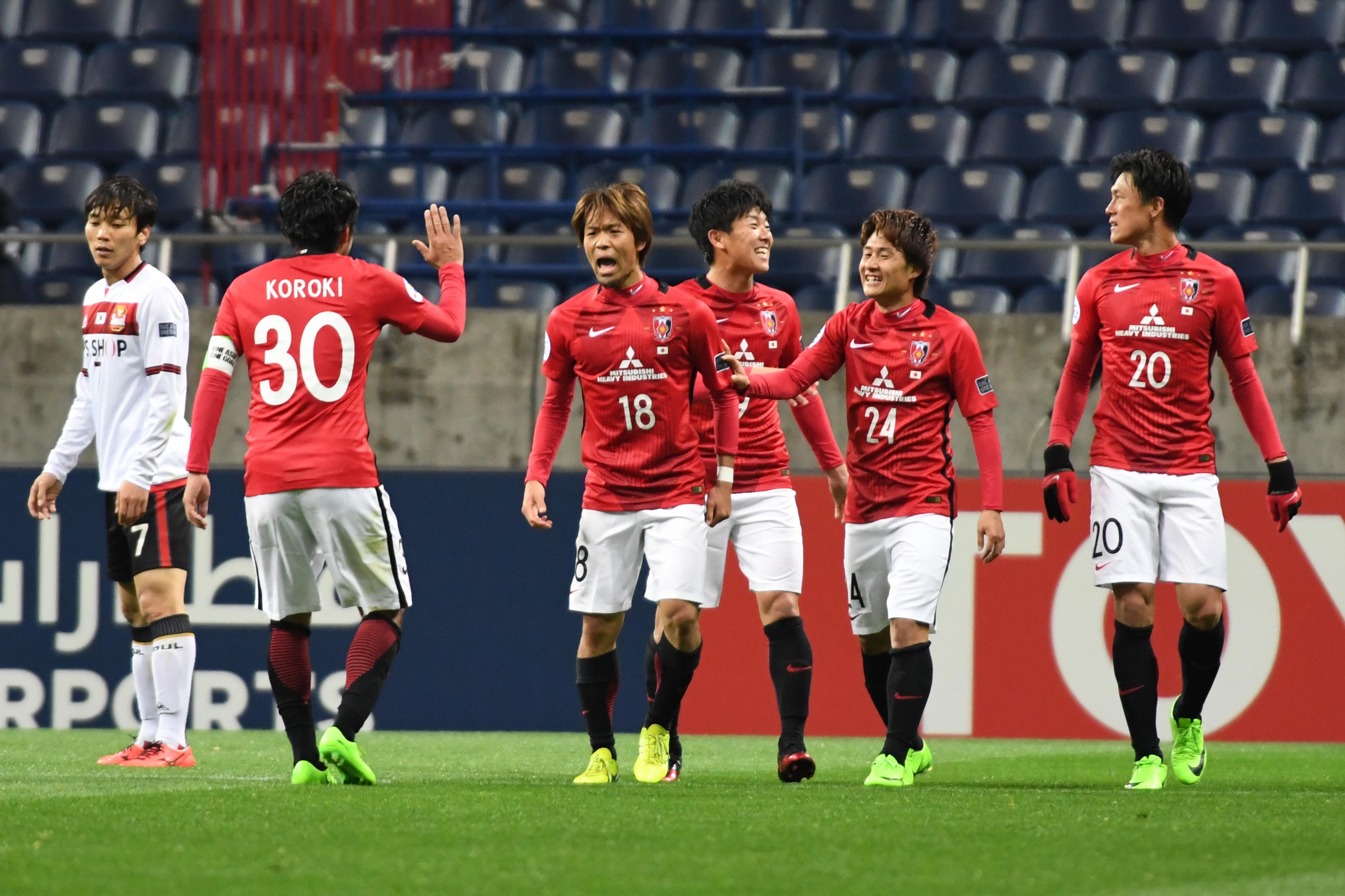 oshiaki Komai #18 of Urawa Red Diamonds celebrates the fifth goal during the AFC Champions League match Group F match between Urawa Red Diamonds and FC Seoul