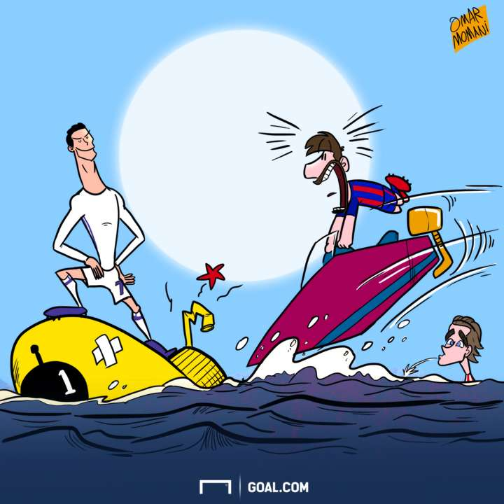 Cartoon Cristiano beats the submarine