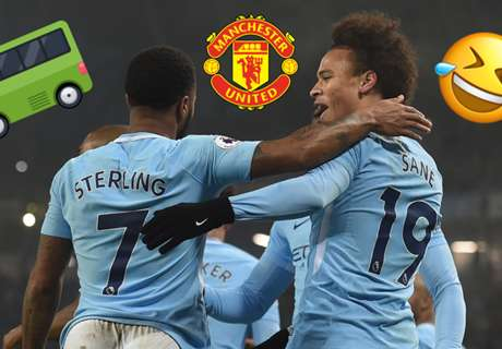 Man City's players taunt 'park the bus' Man Utd