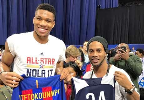 Ronaldinho meets NBA All-Stars