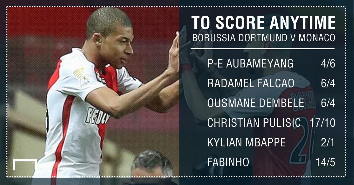 GFX Borussia Dortmund Monaco scorer betting