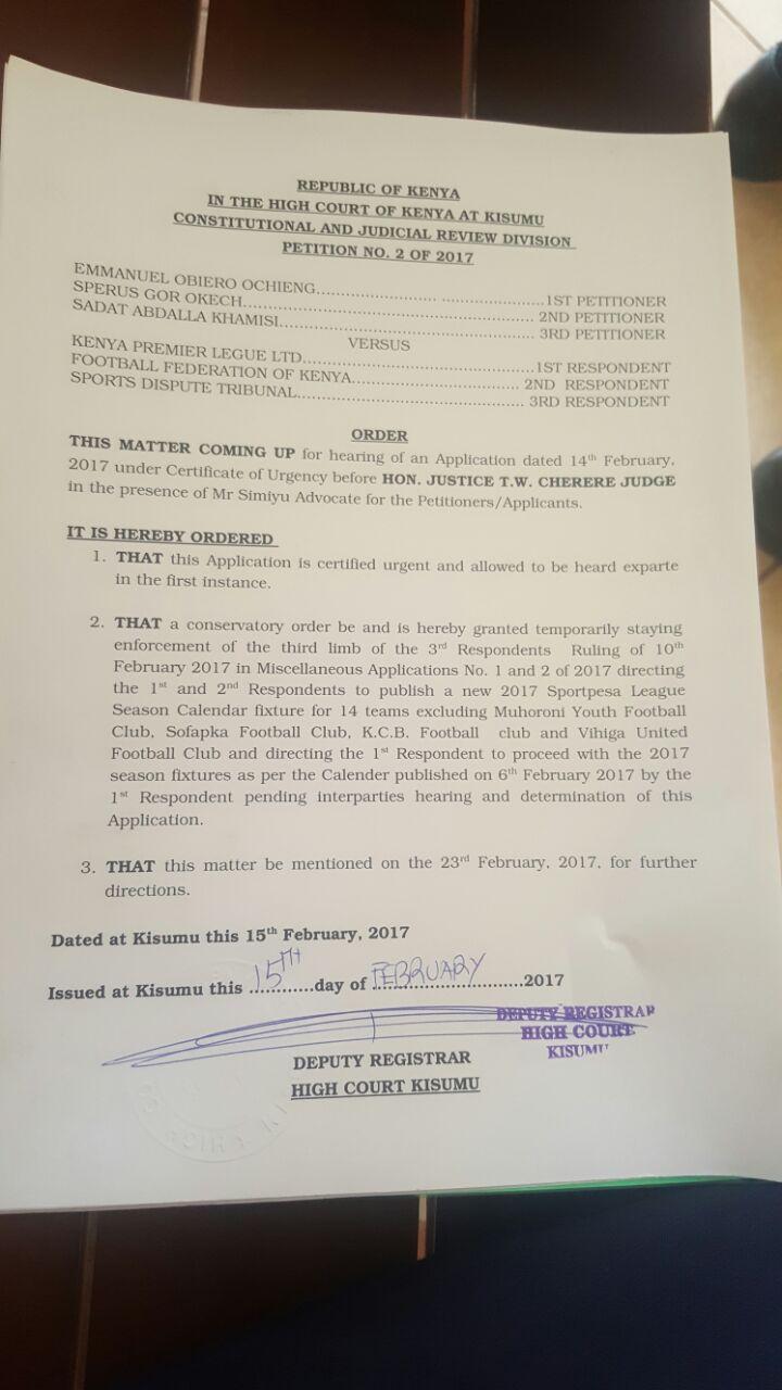 High Court ruling over KPL-FKF tussle