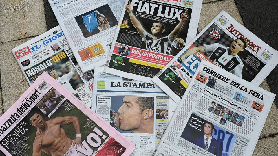 Cristiano Ronaldo Italian newspapers