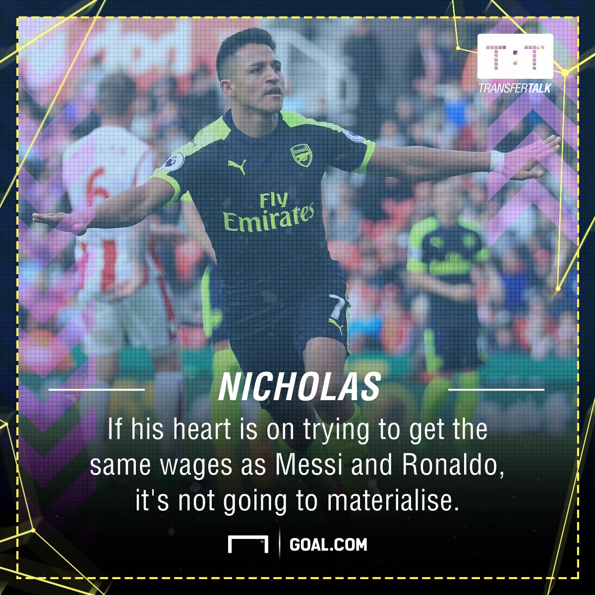 Alexis Sanchez Charlie Nicholas Arsenal Messi Ronaldo wages