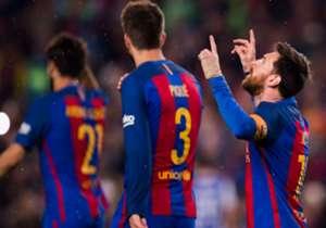 48) Barcelona 3-2 Real Sociedad | La Liga | 15/04/2017 | La Pulga entró por el medio del área y la empujó tras un rebote de Rulli. Así marcó el segundo de su cuenta personal y del Barça.