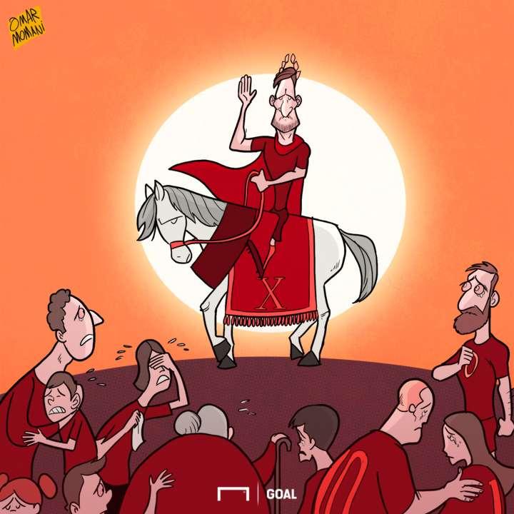 Cartoon Totti farwell to Roma