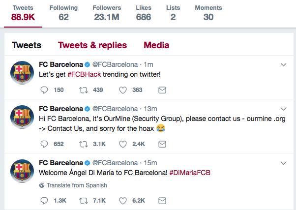 Barcelona Twitter hack 2