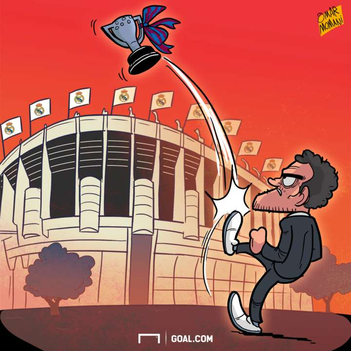 Cartoon Enrique kicks the Liga trophy